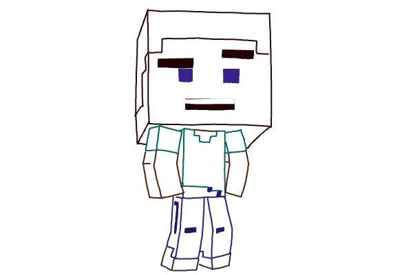 Как нарисовать Стива из Майнкрафта 9