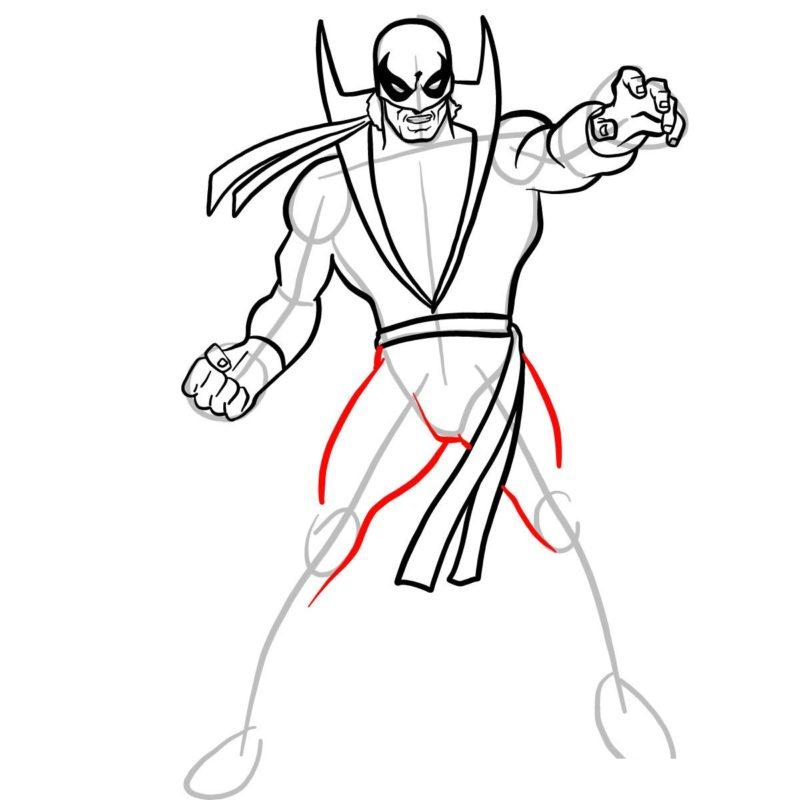 Как нарисовать Железного кулака 9