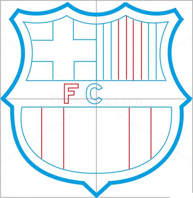 Как нарисовать логотип Барселоны 7