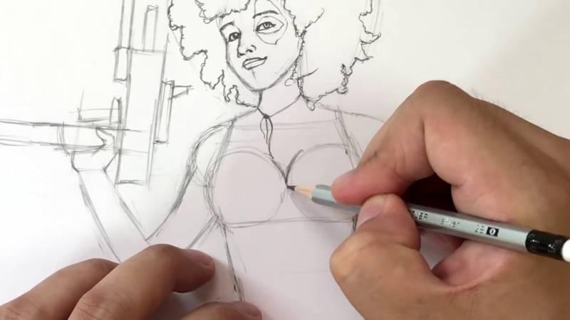 Как нарисовать Домино из Дедпула 20