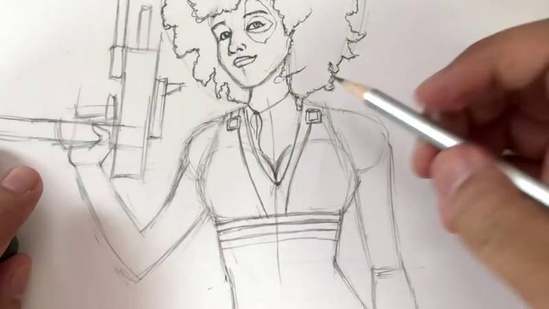 Как нарисовать Домино из Дедпула 22