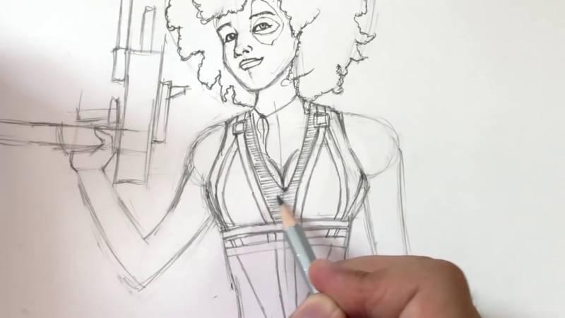 Как нарисовать Домино из Дедпула 24