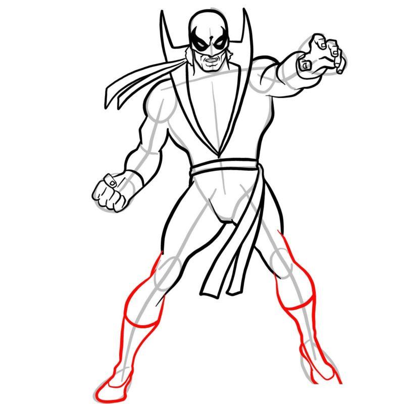 Как нарисовать Железного кулака 10