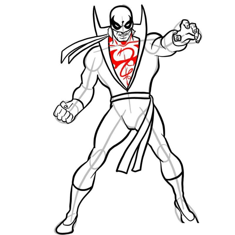 Как нарисовать Железного кулака 11