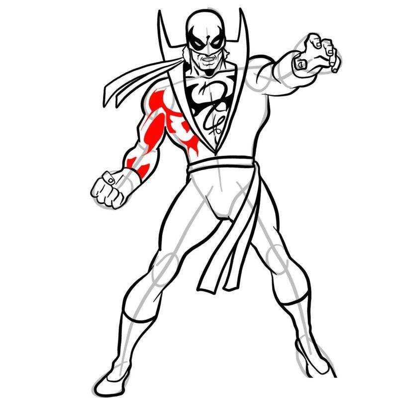 Как нарисовать Железного кулака 12