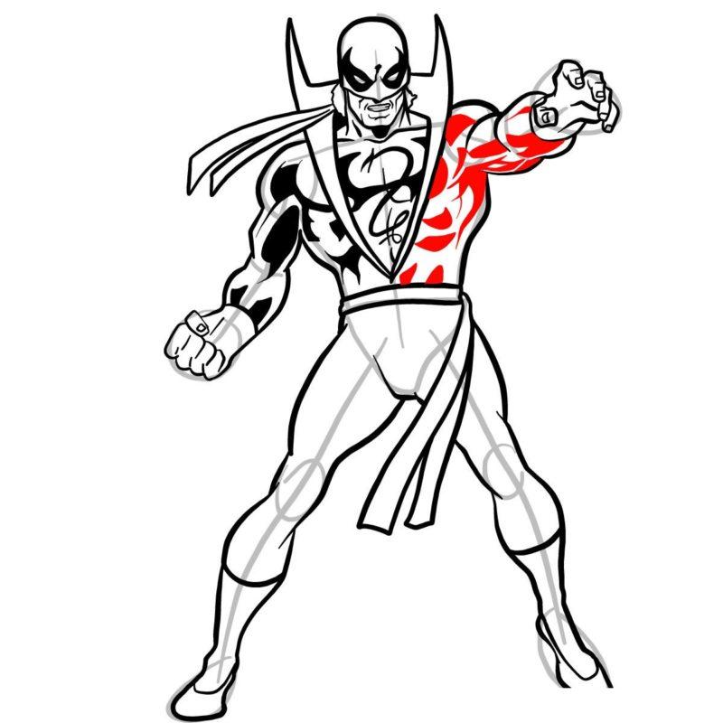 Как нарисовать Железного кулака 13