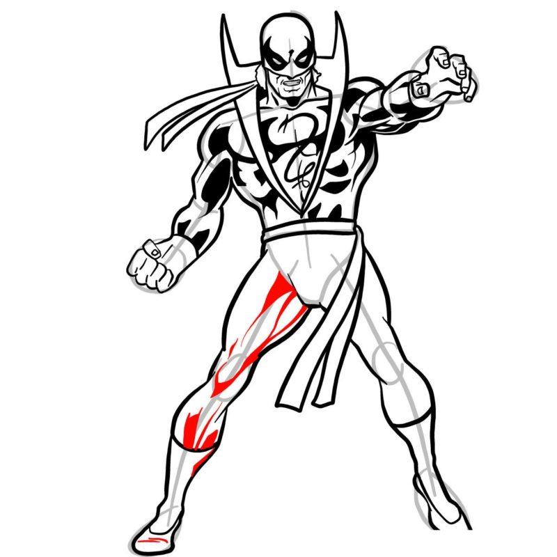 Как нарисовать Железного кулака 14
