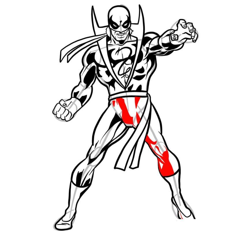 Как нарисовать Железного кулака 15