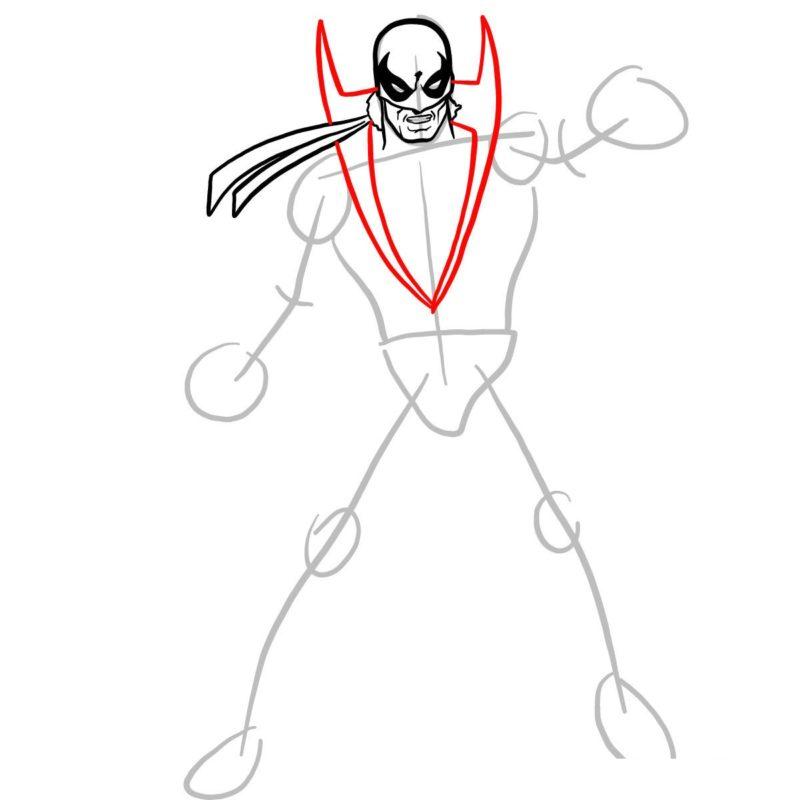 Как нарисовать Железного кулака 5
