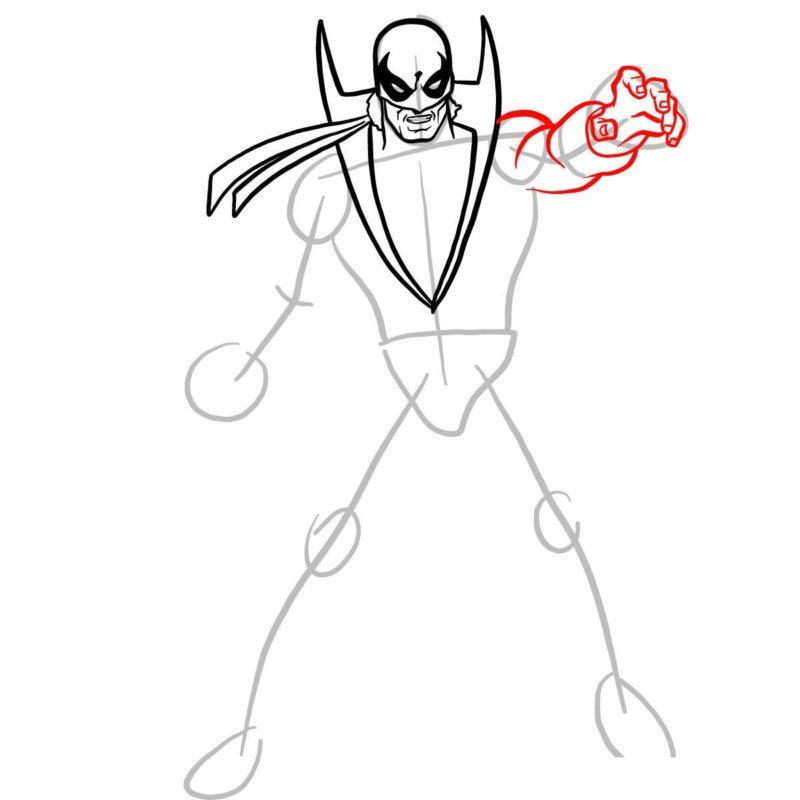 Как нарисовать Железного кулака 6
