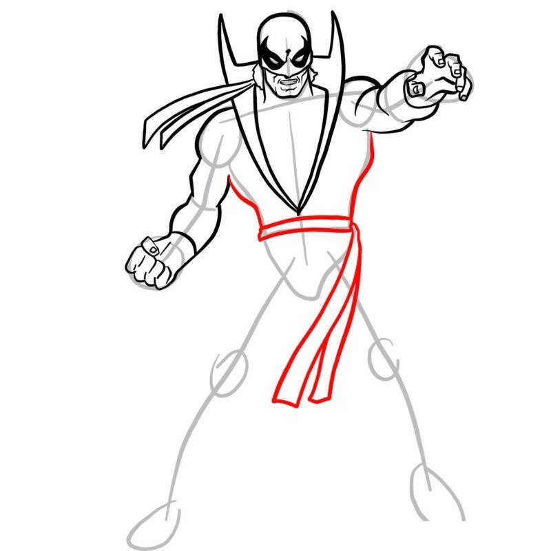 Как нарисовать Железного кулака 8