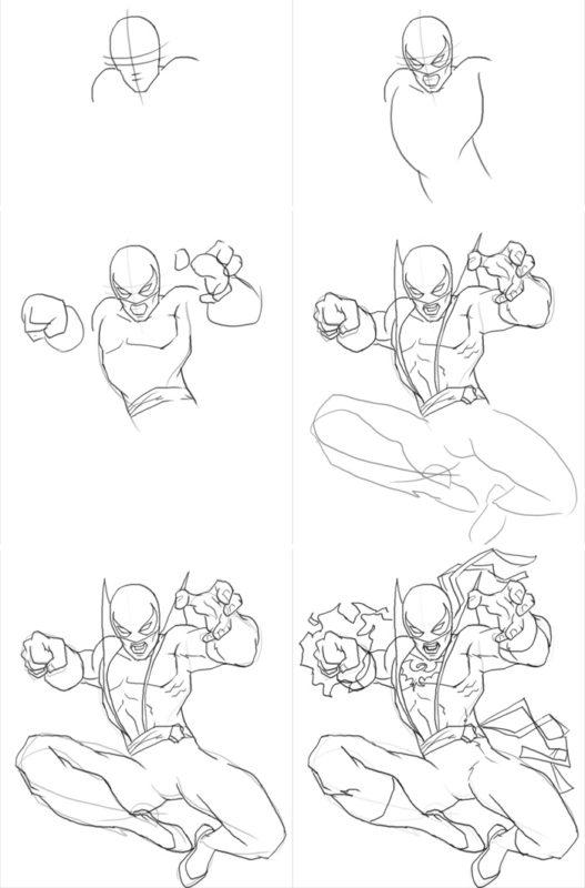 Как нарисовать Железного кулака из фильма