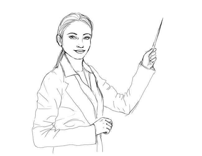 Как нарисовать учителя 11