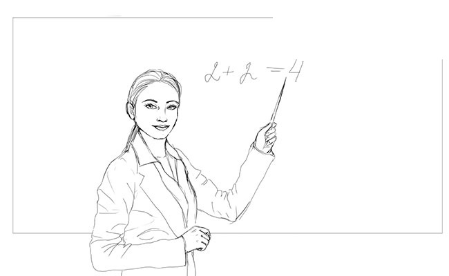 Как нарисовать учителя 12