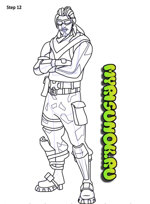 Как нарисовать персонажа из игры Fortnite 12