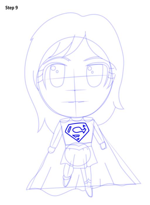 Рисуем чиби Супергерл9