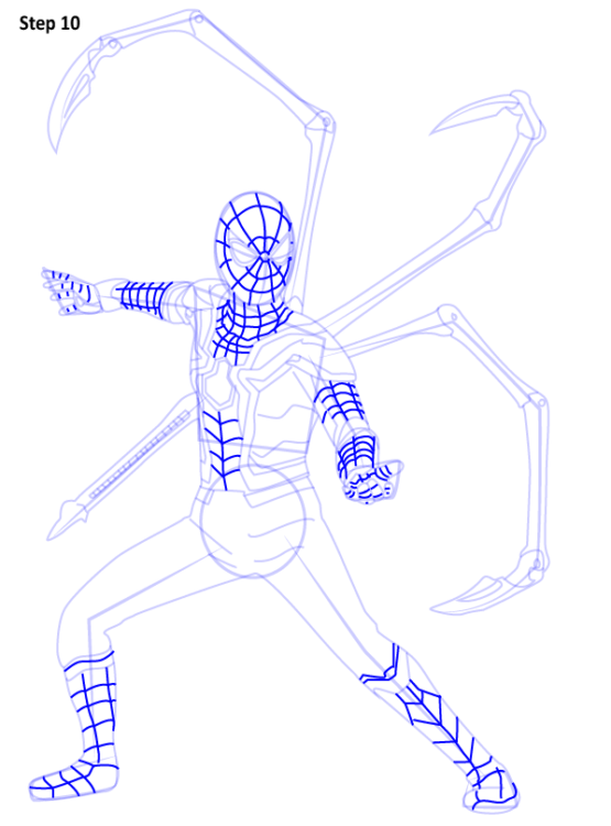 Как нарисовать Железного паука 10