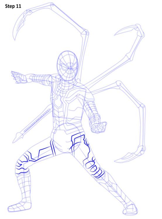 Как нарисовать Железного паука 11