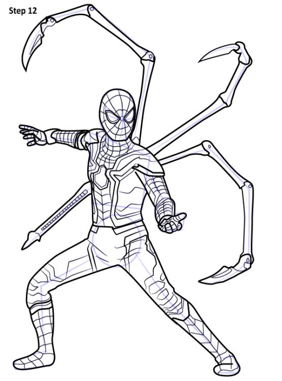 Как нарисовать Железного паука из фильма Война Бесконечности