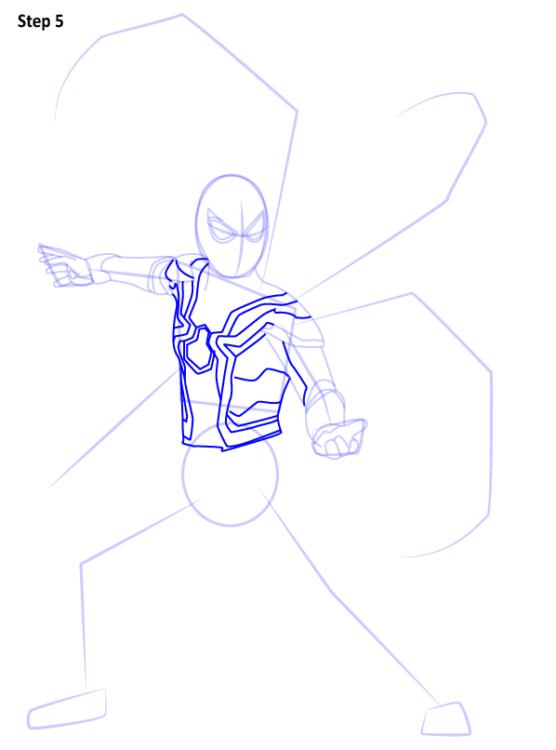 Как нарисовать Железного паука 5