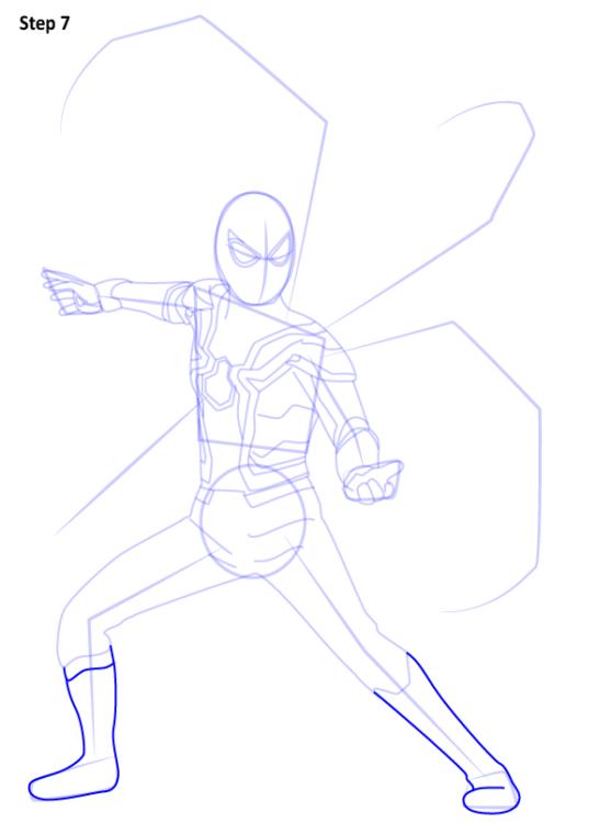 Как нарисовать Железного паука 7