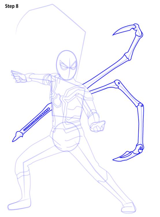 Как нарисовать Железного паука 8
