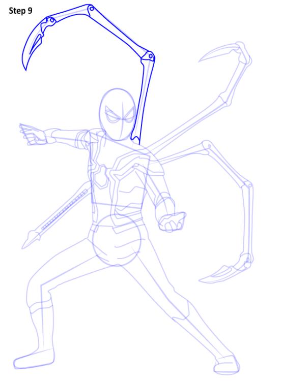 Как нарисовать Железного паука 9