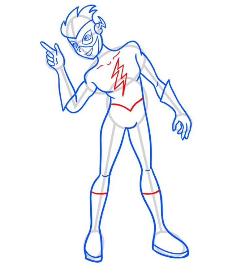 Как нарисовать Кид Флеша 8