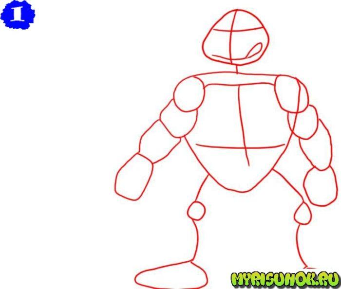 Как нарисовать Леонардо черепашку 1