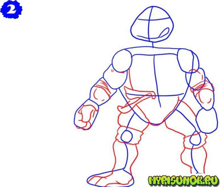 Как нарисовать Леонардо черепашку 2