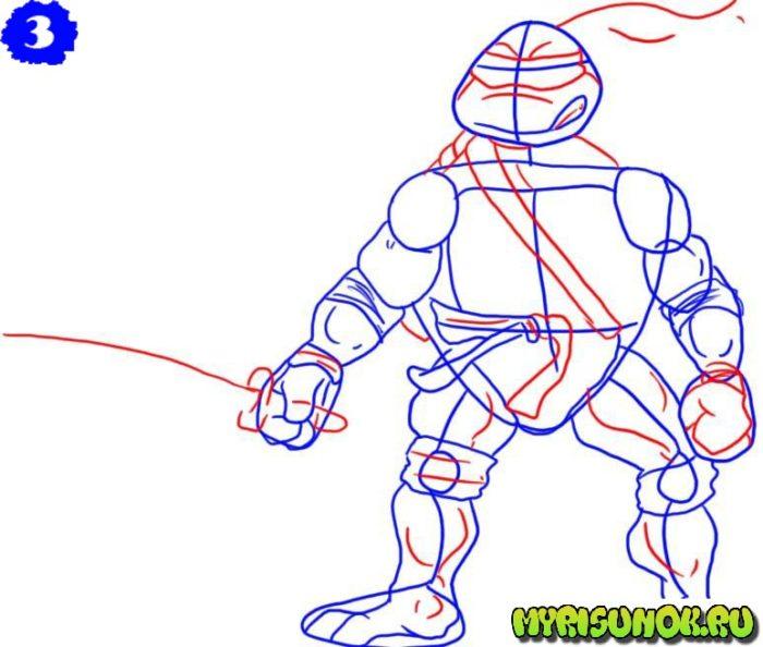 Как нарисовать Леонардо черепашку 3