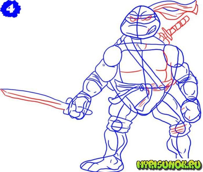 Как нарисовать Леонардо черепашку 4