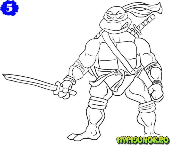 Как нарисовать Леонардо черепашку 5