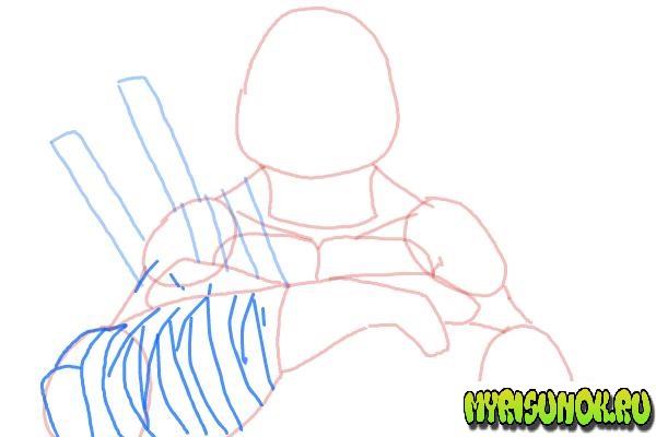 Как нарисовать Леонардо черепашку 07