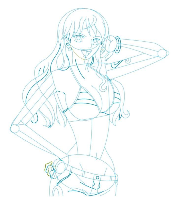 Как нарисовать Нами из One Piece 7