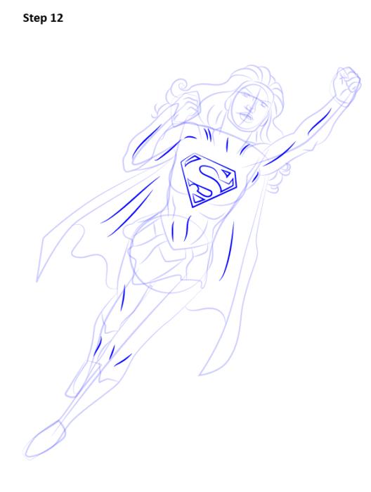 Как нарисовать Супергерл12