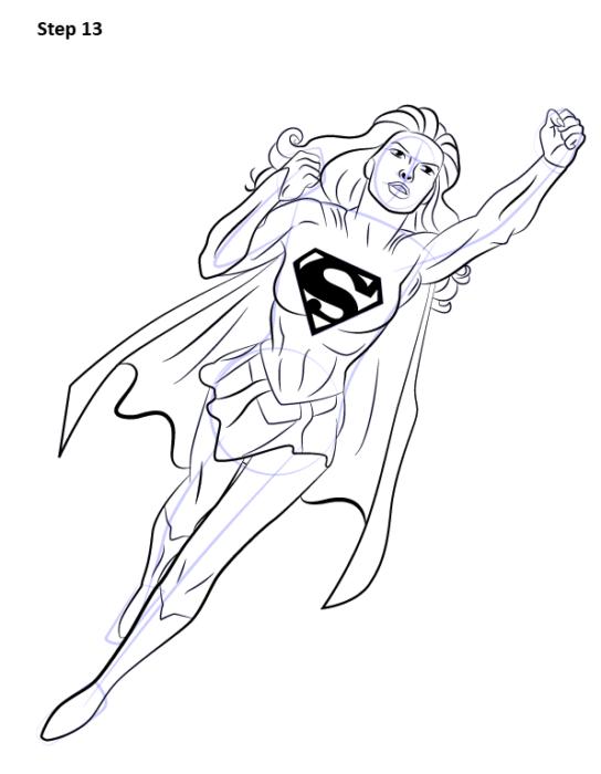 Как нарисовать Супергерл13