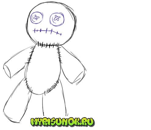 Как нарисовать куклу Вуду4