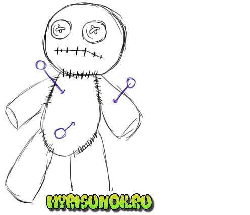 Как нарисовать куклу Вуду5