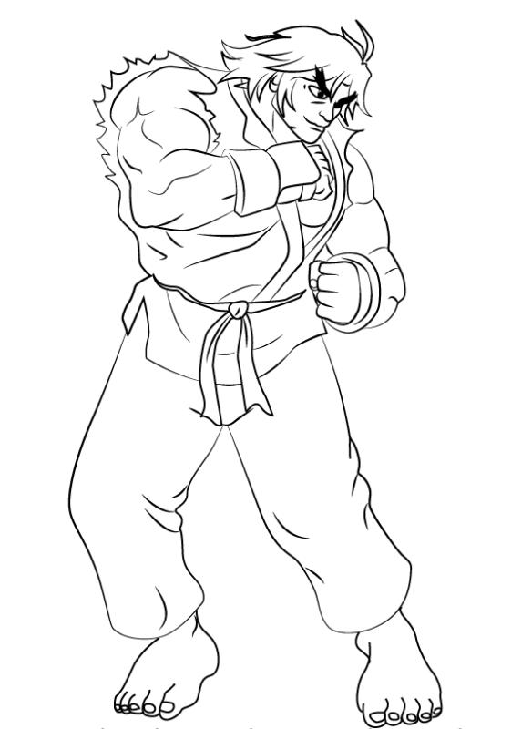 Как нарисовать Кена из Уличного бойца 0