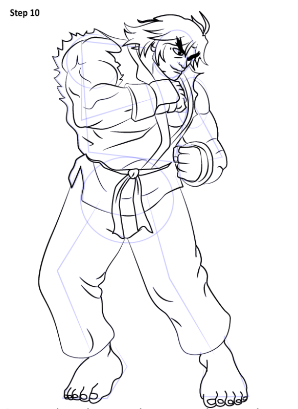 Как нарисовать Кена из Уличного бойца 10