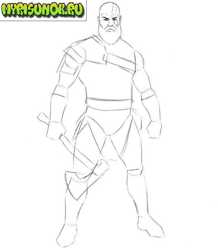 Как нарисовать Кратоса из игры 4