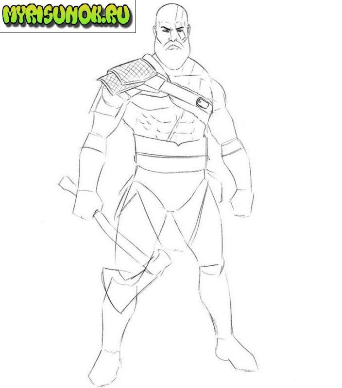 Как нарисовать Кратоса из игры 5