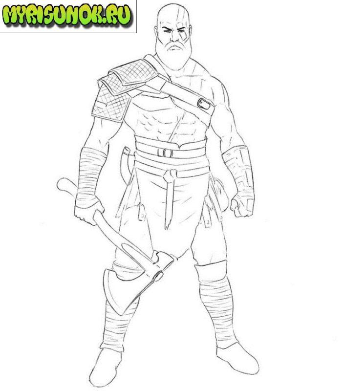 Как нарисовать Кратоса из игры 7