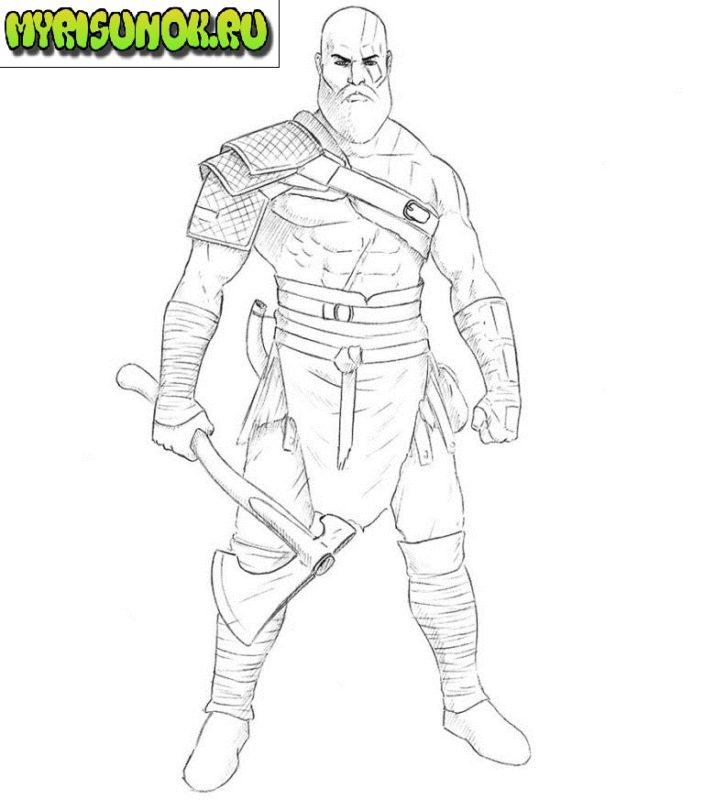 Как нарисовать Кратоса из игры 8