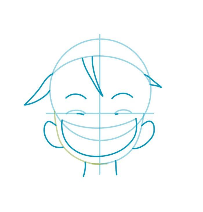 Как нарисовать аниме Луффи 3