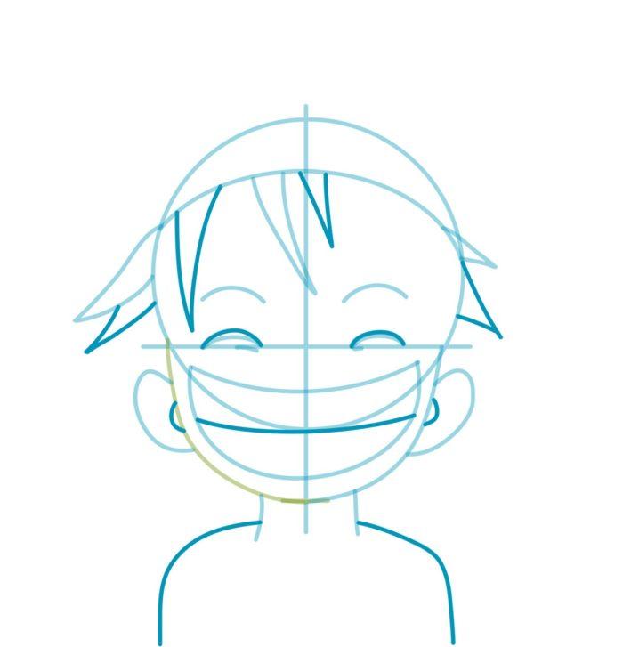 Как нарисовать аниме Луффи 4