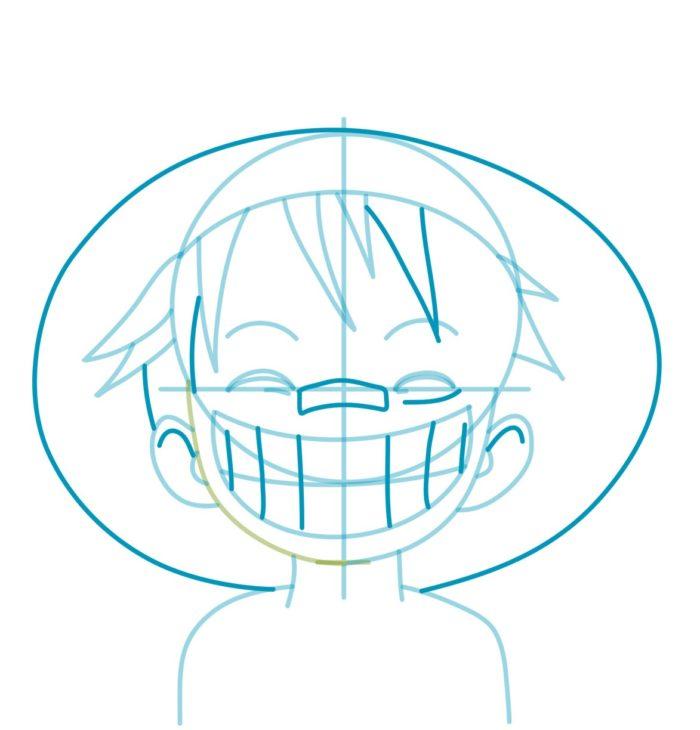 Как нарисовать аниме Луффи 5