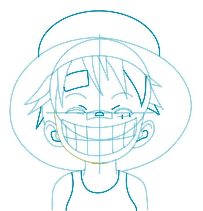 Как нарисовать аниме Луффи 6