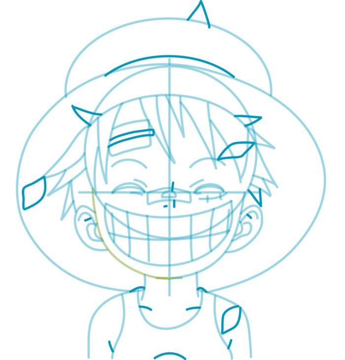 Как нарисовать аниме Луффи 7